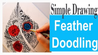How To Draw Feather || Doodles Design Idea Over Alcohol Ink Background