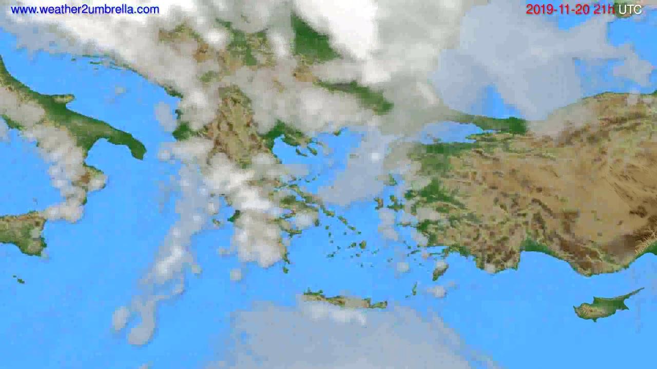 Cloud forecast Greece // modelrun: 12h UTC 2019-11-19