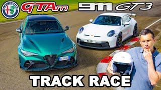 New Alfa Giulia GTAm v Porsche 911 GT3: TRACK RACE & 0-100mph-0 test!