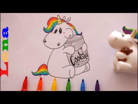 Pummeleinhorn mit Keks Dose zeichnen - How to draw a unicorn - как рисовать единорога