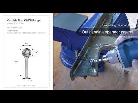 FindBuyTool Carbide Burr SD-7 Forma de Esfera Omni Range Head D 3/4 x 3 / 4L, 1/4 haste, 2-4 / 9 polegadas de comprimento total