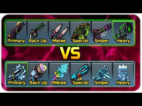 Poison Set VS Ice Set (Pixel Gun 3D)