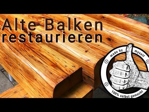 alte Holz Balken restaurieren, aufbereiten, hobeln, streichen, richtig ölen Leinöl Firnis