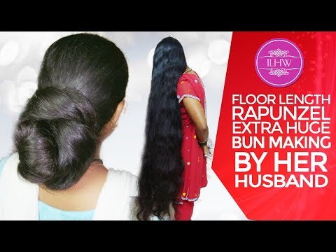 Ilhw Real Rapunzel Tara Extra Huge Bun Making By Her Hubby With