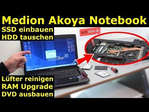 Medion Akoya Notebook SSD HDD tauschen - Laptop RAM CMOS DVD Lüfter reinigen - [4K]