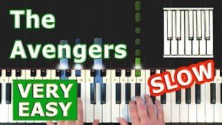 Avengers Theme - SLOW EASY Piano Tutorial - (Synthesia)