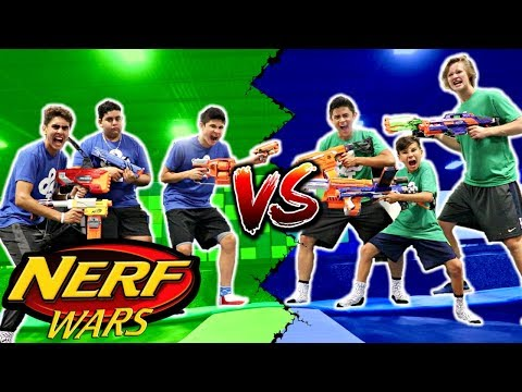 EPIC NERF WAR IN WORLD'S LARGEST TRAMPOLINE PARK