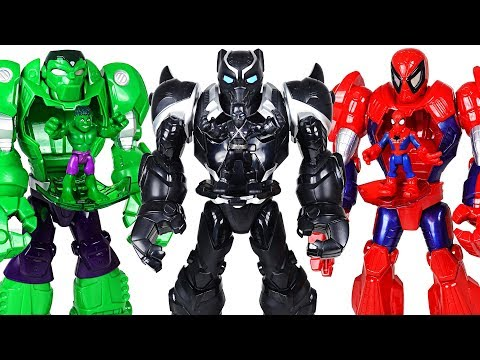 Marvel Black Panther Mech Armor suit! Crush the dinosaurs and help Hulk, Spider Man! - DuDuPopTOY
