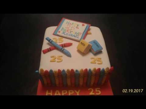 Как сделать декор торта учителю с карандашами