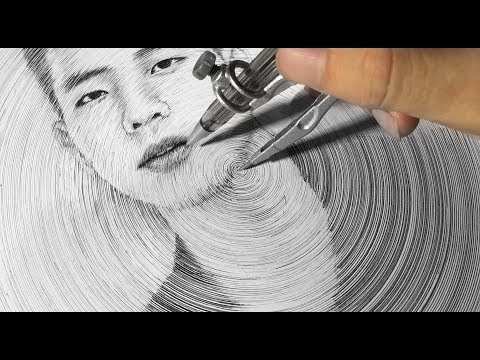 portrait drawing using a compass by quan ap