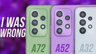 Samsung Galaxy A52 vs Samsung Galaxy A72 vs Samsung Galaxy A32 - THE TRUTH!
