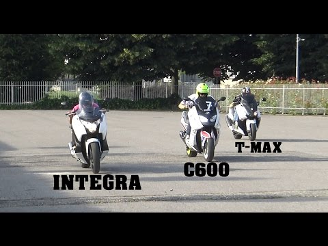 TEST T- MAX 530 Vs HONDA INTEGRA Vs  BMW C600  (VIDEO 4K)