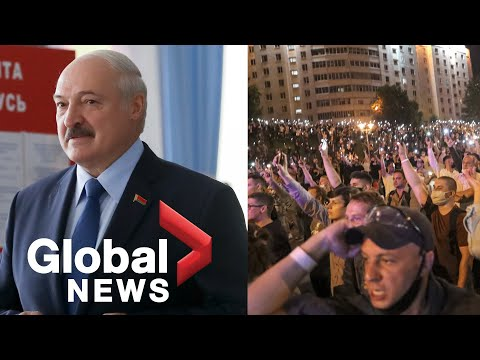 Belarus' long-ruling president re-elected, protesters clash with police overnight