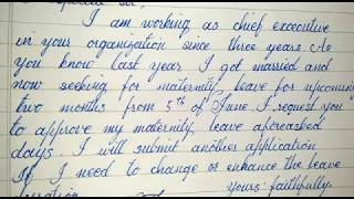 how to write maternity leave application // cursive writing
