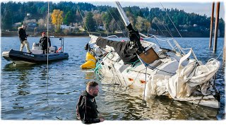 Sailboat Saved from Sinking in River at Boat Ramp!
