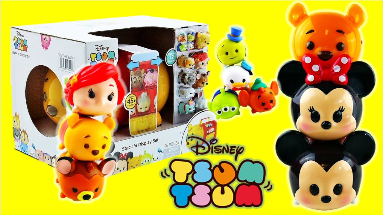 Disney Pooh Bear Tsum Tsum Stack 'n Display Set Vinyls Collection and Storage Case