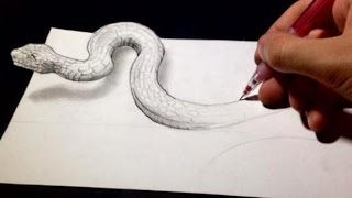Optical Illusions Ecards, Drawing 3D optical Illusion The Snake  optical..