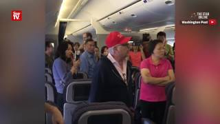 United Airlines flight removes man with Donald Trump cap
