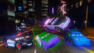 Police Car McQueen Truck Mack Vs Boost Wingo DJ - Hot Pursuit -Police Chase -Disney Cars 2 & Friends