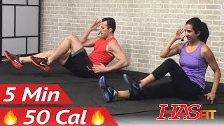 5 Min Lower Ab Workout for Women & Men - 5 Minute Abs Lower Abs Belly Fat Flattener Stomach Workout by HASfit