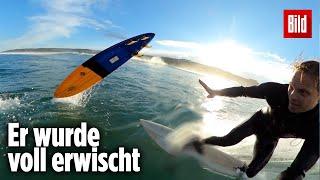 Surf-Profi verunglückt: Body-Cam filmt den Schock-Moment   Sebastian Steudtner