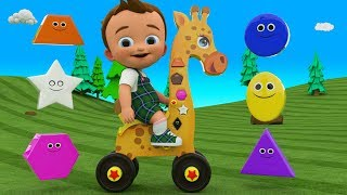 Little Baby Learning Colors & Shapes for Children with Giraffe Toy 3D Shapes for Kids Toddlers Edu
