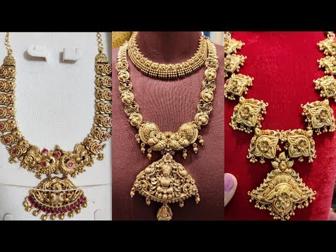 Tanishq  Antique Haaram Collection with weight/ Temple Jewellery/Latest Gold Haaram necklace
