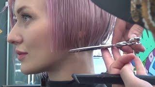 Стрижка КАРЕ БОБ + окрашивание волос в РОЗОВЫЙ БЛОНД. Обучение парикмахеров Артем Любимов.