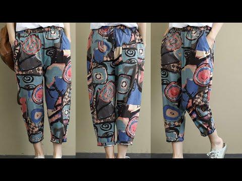 Женские винтажные штаны-шаровары с принтом женские брюки повседневные ZANZEA