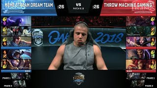 Meme Stream Dream Team vs Throw Machine Gaming | Streamer Show Match at S8 NA LCS 2018 Summer Finals