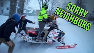 Idiot rides snowmobile through neighbors yards!!