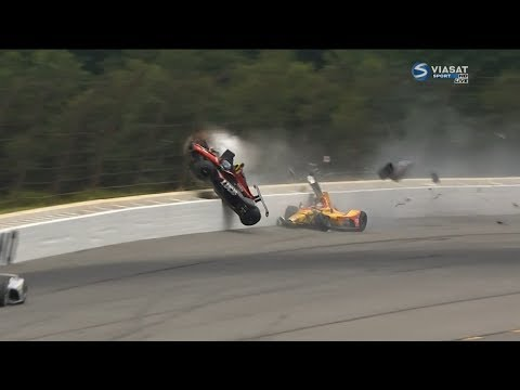 IndyCar Series 2018. Pocono Raceway. Robert Wickens Huge Crash (All Angles)