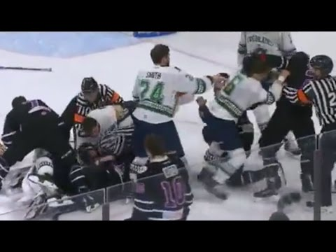 MASSIVE FIGHT Breaks out During Hockey Playoff Game, Including Goalies