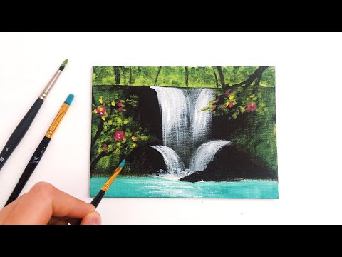 Step by Step Easy Waterfall Landscape Painting for Beginners