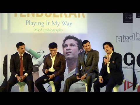 Sachin reacts after being declared on 194 by Rahul Dravid