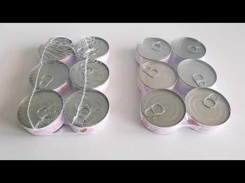Shrink packaging of food cans as multipacks