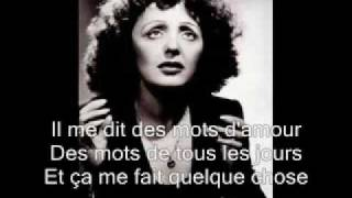 Edith Piaf  La Vie En Rose With Lyrics