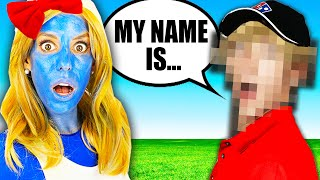 Name Reveal of Mystery Man! Tricking RZ Twin in Smurf Disguises for 24 Hours.  Rebecca Zamolo