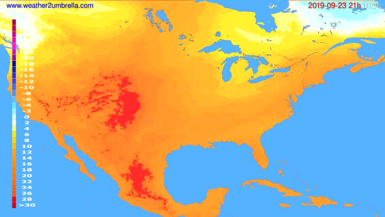 Temperature forecast USA & Canada // modelrun: 00h UTC 2019-09-22