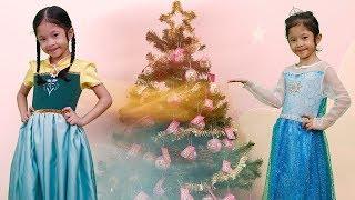 Nữ Hoàng Băng Giá Elsa Và Anna Trang Trí Cây Noel Chuẩn Bị Đón Giáng sinh