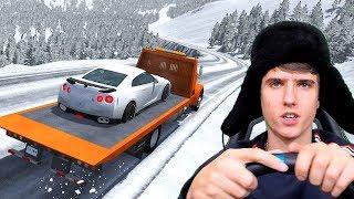 ЭВАКУАТОР НА ЗИМНЕМ СПУСКЕ С ДОРОГИМИ МАШИНАМИ ! - BEAMNG DRIVE