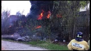 Крупный пожар на территории бывшего ЖБИ в Казани