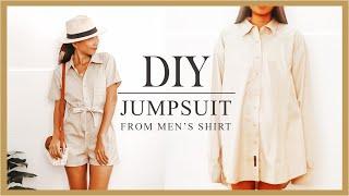 Refashion DIY Mens Shirt Into Jumpsuit/Romper