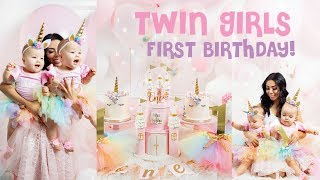 TWIN GIRLS FIRST BIRTHDAY! UNICORN PARTY VLOG!🎂💕
