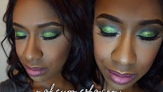 Green Glitter Glam with Pink Lips