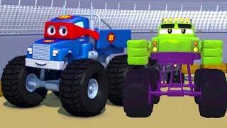 Carl the Super Truck and the Monster Truck Hulk in Car City | Cars &Trucks Cartoons fo Kids 🚗
