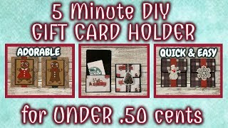 5 Minute DIY GIFT CARD HOLDER For UNDER .50 Cents | QUICK & EASY DIY