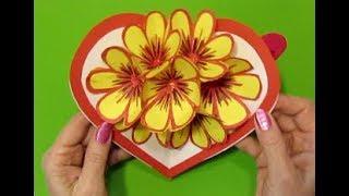 Подарки своими руками Маме,Бабушке,Учителю. 6Д открытка с цветами из бумаги. День Матери.