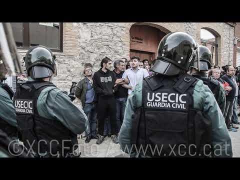 Dura repressió a la celebració de l'1-O a  Sant Martí Sesgueioles