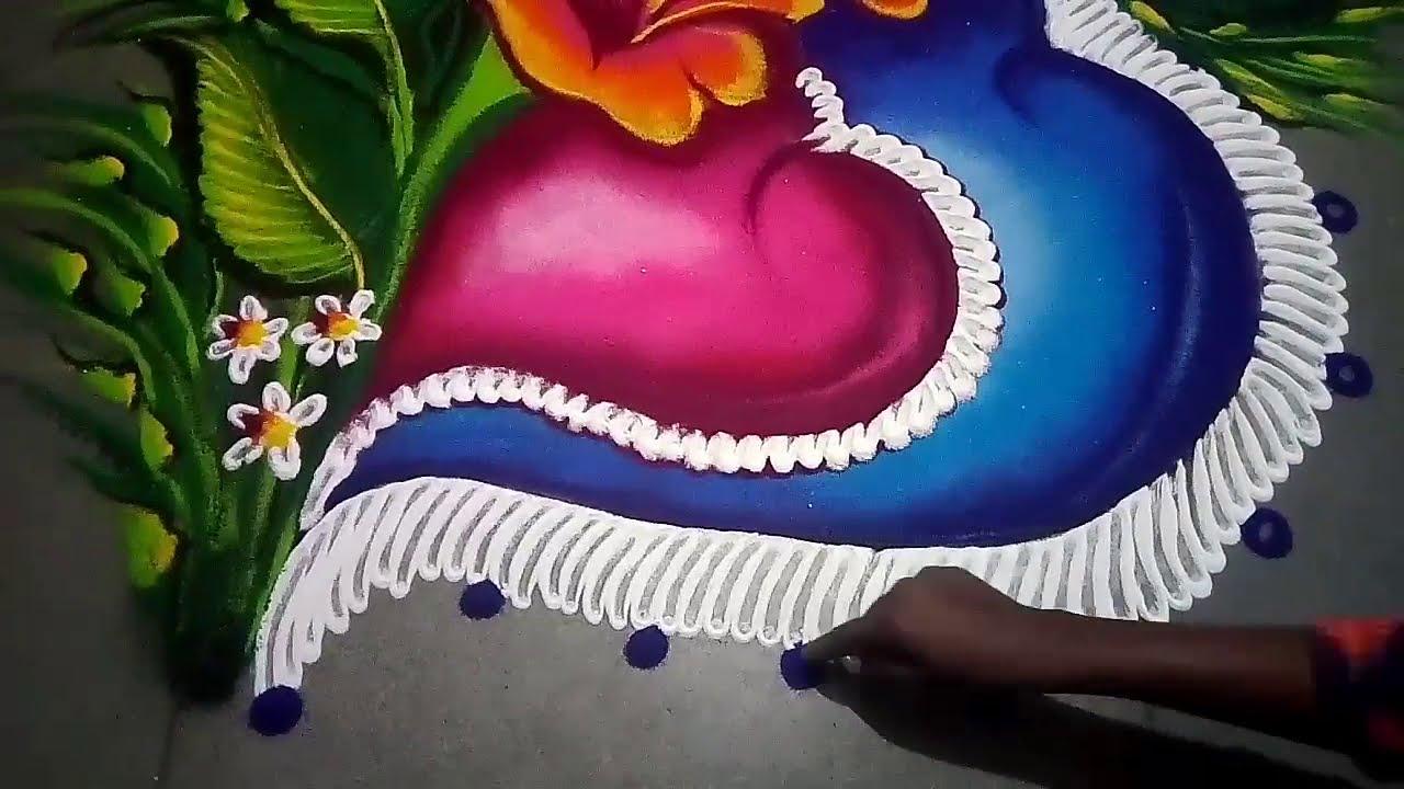 wedding rangoli design heart shape by jyoti creative art